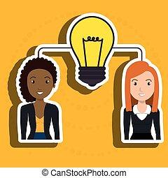 donna, lavoro squadra, uomo idea