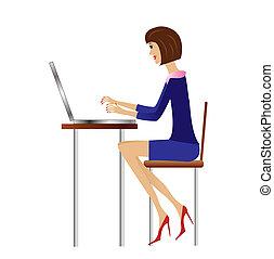 donna, lavoro, ufficio affari