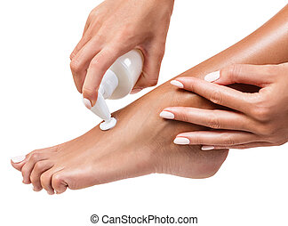 donna, leg., lei, spremere, moisturising screma
