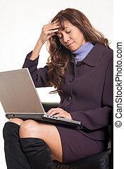 donna, lei, affari, forties, brunetta, attraente, asiatico