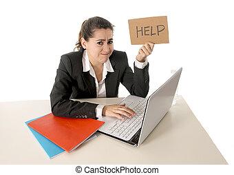 donna, lei, affari, laptop, segno, lavorativo, occupato, aiuto
