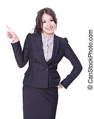 donna, lei, affari, spazio, indicare barretta, copia