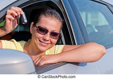 donna, lei, automobile, esposizione, chiave, nuovo