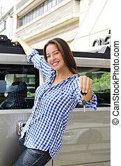 donna, lei, chiavi, automobile, esposizione, antiproiettile, ricco, nuovo