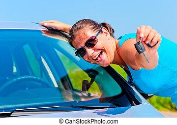 donna, lei, chiavi, automobile, esposizione, nuovo, felice