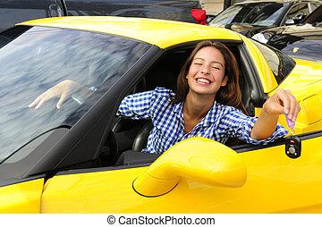 donna, lei, chiavi, automobile, esposizione, sport, nuovo