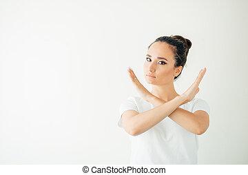 donna, lei, fermata, mano, fabbricazione, gesto
