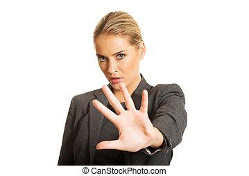 donna, lei, fermata, mano, fabbricazione, segno