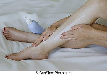 donna, lei, gambe, giovane, fondo, bianco, moisturisers