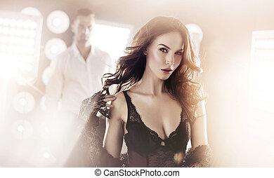 donna, lei, marito, fondo, ritratto, sensuale