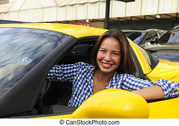 donna, lei, seduta, automobile, dentro, sport, nuovo