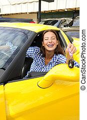 donna, lei, seduta, automobile, esposizione, sport, nuovo, dentro