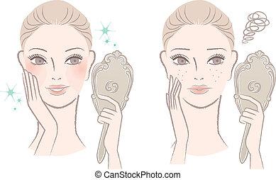 donna, lei stessa, specchio, dall'aspetto