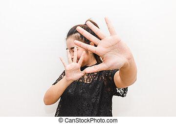 donna, lei, su, difesa, qualcosa, mani, mettere, timoroso