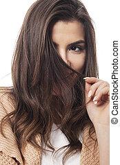 donna, lei, timido, capelli, dietro, bastonatura