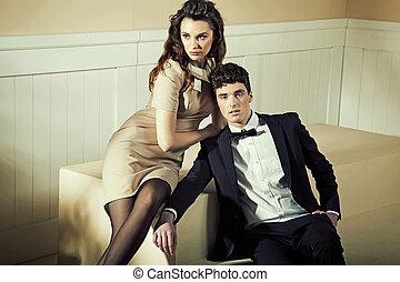 donna, lei, toccante, bello, sensuale, ragazzo