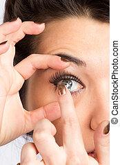 donna, lense, giovane, contatto