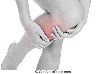 donna, lesione, detenere, gamba