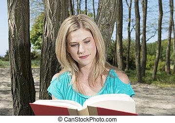 donna, libro, lettura