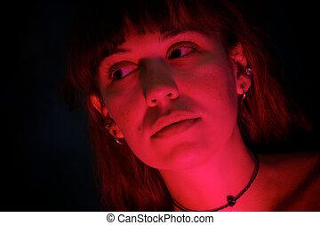 donna, luminoso, scuro, rosso, bello