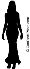 donna, lungo, vettore, silhouette, moda, vestire