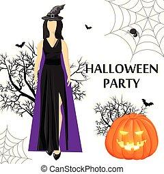 donna, luogo, strega, cappello festa, halloween, il portare, bandiera