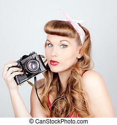 donna, macchina fotografica, retro