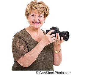 donna, macchina fotografica slr, presa a terra, digitale, anziano