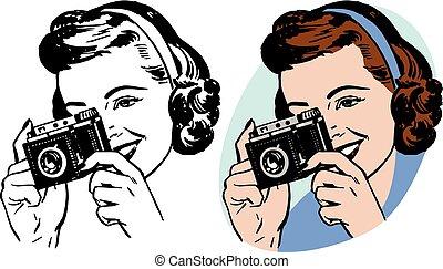 donna, macchina fotografica