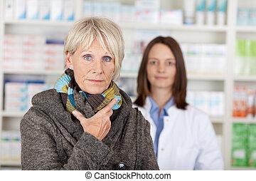 donna, maglione, indisposto, fondo, anziano, farmacista
