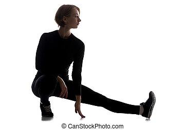 donna, magro, accovacciarsi, one-legged