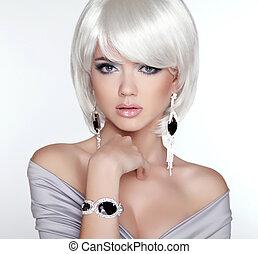 donna, makeup., corto, fascino, moda, portrait., biondo, bianco, ha, muovere a scatti