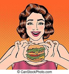 donna mangia, burger., giovane, pop, vettore, illustrazione, presa a terra, hamburger., art.