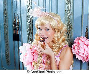 donna mangia, cioccolato, moda, biondo, principessa