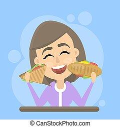 donna mangia, digiuno, cibo.