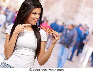 donna mangia, giovane, ritratto, pezzo, pizza
