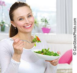 donna mangia, insalata, sano, giovane, diet., verdura