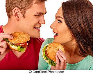 donna mangia, isolated., grande panino, cola., uomo