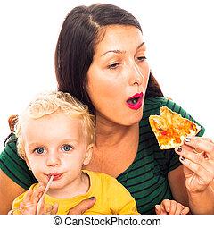 donna mangia, pizza, e, bambino, bere