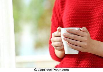donna, mani, presa a terra, uno, tazza caffè