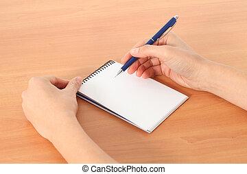 donna, mani, scrittura, in, uno, quaderno