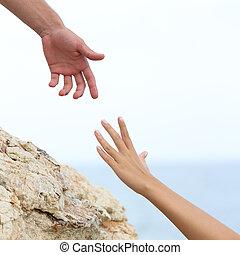 donna, mani, uomo, porzione, concetto