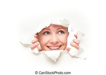 donna, manifesto, strappato, faccia, carta, sbirciando, attraverso, buco, bianco