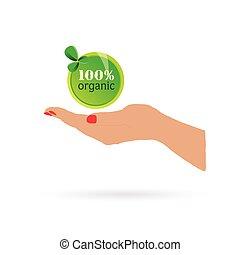 donna, mano, holdin, organico, segno, vettore, illustrazione