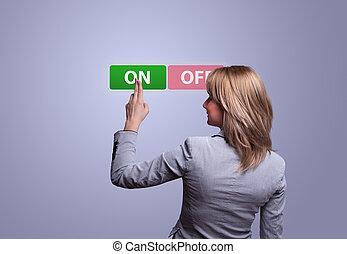 donna, mano, urgente, su, bottone