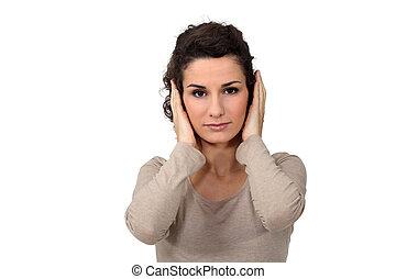 donna, mantello, lei, orecchie