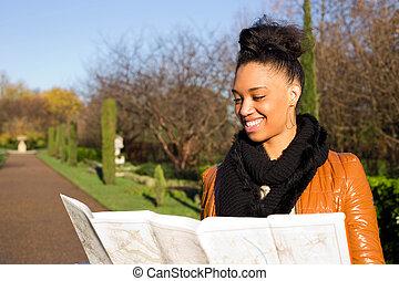 donna, map., giovane, lettura