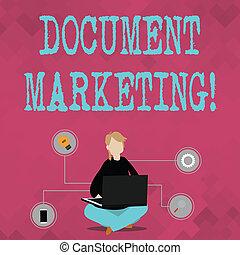 donna, marketing., affari, pavimento, foto, esposizione, seduta, laptop., gambe, scrittura, nota, scritto, vendita, attraversato, curiosare, showcasing, prodotti, strategia, documento