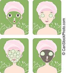 donna, maschera, cosmetico, facciale