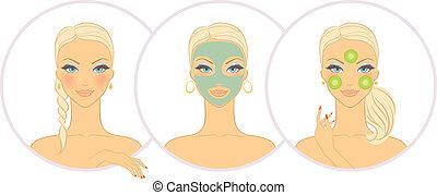 donna, maschera, cosmetico